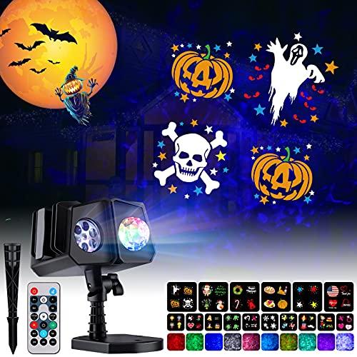Halloween Christmas Projector Lights Outdoor - 26 HD Effects (3D Ocean Wave & Patterns) Waterproof with RF...