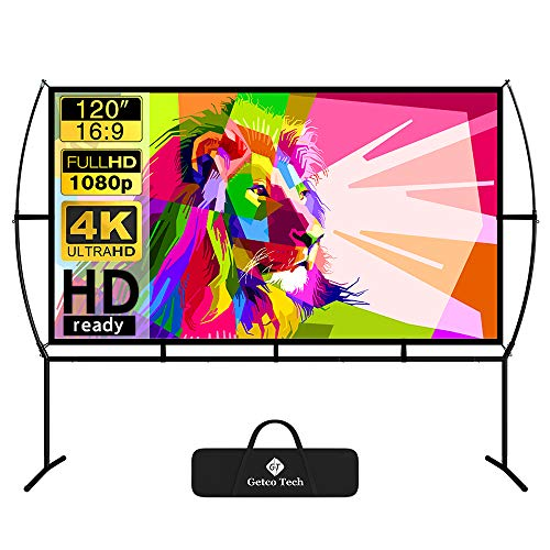 Projector Screen with Stand Foldable Portable Movie Screen 120 Inch(16:9), HD 4K Double Sided Projection...
