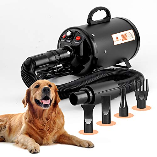 Dog Blow Dryer for Grooming 4.5HP/2800W, Stepless Adjustable Speed High Velocity Dryer for Dogs Blower for...