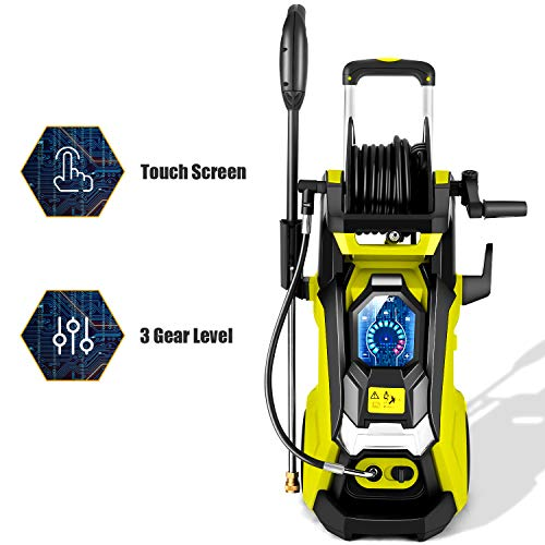 TEANDE Smart Pressure Washer 3800 PSI Electric High Powerful Touch Screen 3 Gear Level with Telescopic Handle,...