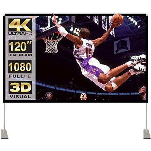 Projector Screen with Stand 120 inch 16:9 HD 4K Outdoor Indoor Projection Screen for Home Theater 3D...
