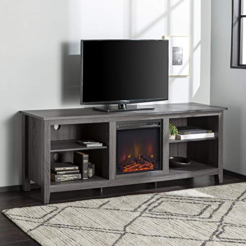 Walker Edison Furniture Company Minimal Farmhouse Wood Fireplace Universal Stand for TV's up to 80' Flat...