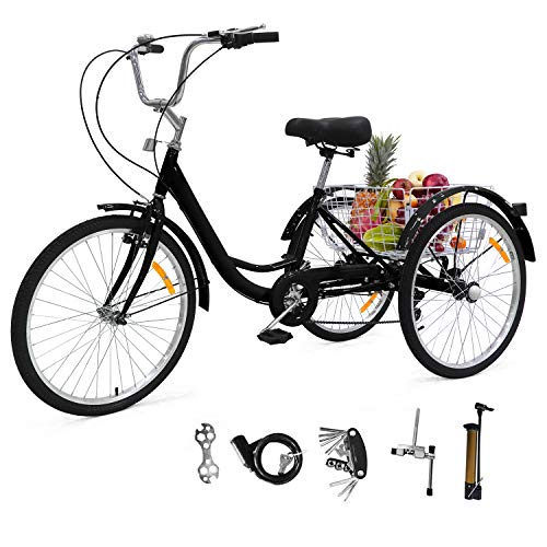 Adult Tricycles Three Wheel Trike Bike Cruiser 7 Speed, Adult Trikes 24 inch Wheels Low Step-Through with...