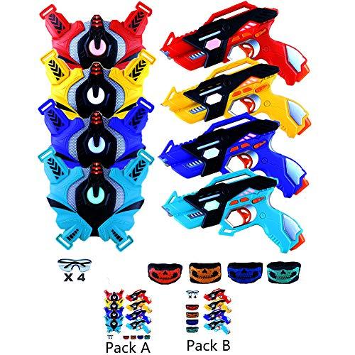 Infrared Laser Tag Guns Set of 4 Players with 4 Guns 4 Vests 4 Tactical Masks 4 Protective Glasses Laser Tag...