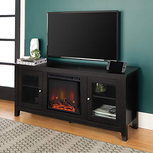 Walker Edison WE Furniture Traditional Wood Fireplace Stand for TV's up to 64' Living Room Storage, 58',...