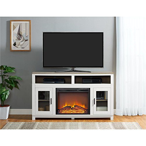 Ameriwood Home Carver Electric Fireplace TV Stand for TVs up to 60' Wide, White