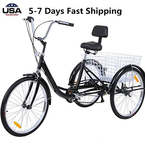 US Fast Shipment Adult Tricycles Seven Speed, Multiple Speeds, 24-inch 3-Wheels, Cargo Basket, Three-Wheeled...