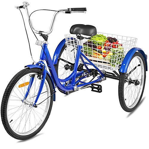 Happybuy Adult Tricycle Single Three Wheel Bike 24inch Seat Adjustable Trike with Bell Brake System and Basket...