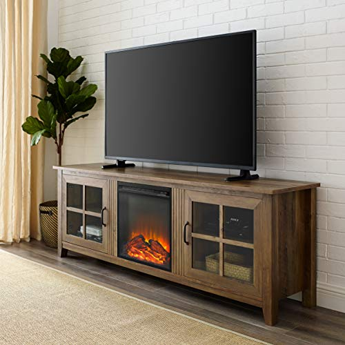 Walker Edison Furniture Company Modern Farmhouse Wood Fireplace Universal Stand with Cabinet Doors for TV's up...