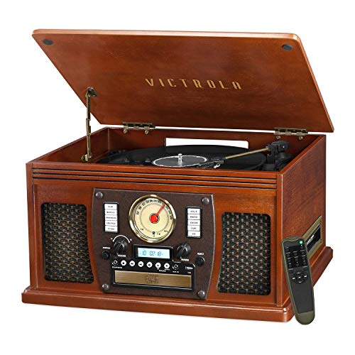 Victrola 8-in-1 Bluetooth Record Player & Multimedia Center, Built-in Stereo Speakers - Turntable, Vinyl to...