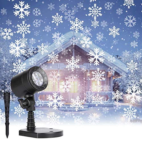 Christmas Projector Lights Outdoor: Led Snowflake Projector Lights Waterproof Plug in Moving Effect Wall...