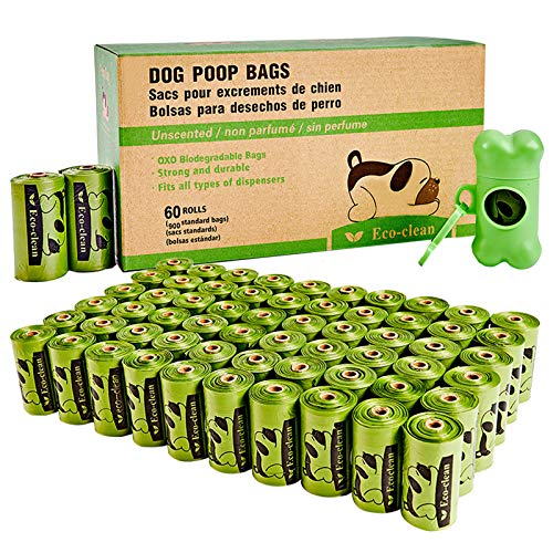 Eco-clean Dog Poop Bags, 60 Rolls / 900 Count Dog Waste Bags with Dispenser and Leash Clip, Unscented, Extra...