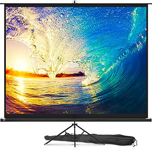 Projector Screen with Stand 120 inch - Indoor and Outdoor Projection Screen for Movie or Office Presentation -...