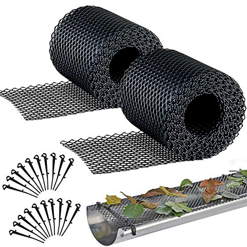 Plastic Gutter Guard Mesh 2 PCS, Gardtech Leaf Protection 6.1in Wide by 2x20ft Long Mesh Gutter Guards Roll...