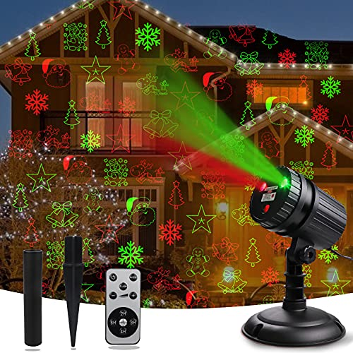 Christmas Laser Projector Lights, Laser Christmas Decorations Lights 8 Patterns Snow Santa Plug in Night...
