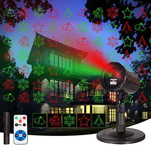 Laser Christmas Projector OutdoorIndoor LightsGarden LED Lights with Wireless Remote Spotlight RedGreenStar...