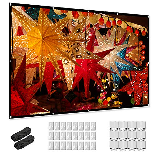 Projector Screen 120 inch, Taotique 4K Movie Projector Screen 16:9 HD Foldable and Portable Anti-Crease Indoor...