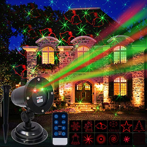 Christmas Laser Projector Outdoor Light for House, Holiday, Xmas Decoration, IP44 Waterproof, Wireless Remote...
