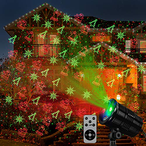 Christmas Laser Lights, Projector Lights Led Landscape Spotlight Red and Green Star Show with 360...