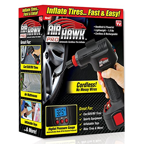 Ontel Air Hawk Pro Automatic Cordless Tire Inflator Portable Air Compressor, Easy to Read Digital Pressure...