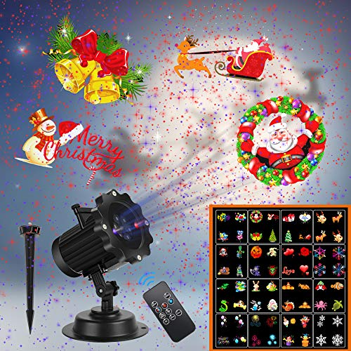 Christmas Projector Lights,UNIFUN 16 Patterns LED Projector Lights with red and Blue Star Laser Waterproof...