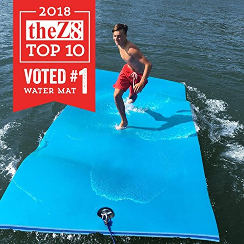 FloatDaddy 3-Ply Foam Lake Swim Mat Super Island   6 x 16   Cyan/Blue