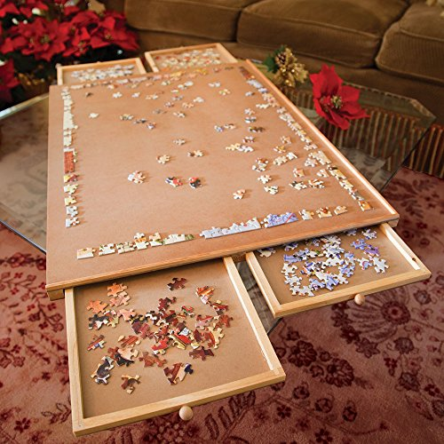 Bits and Pieces - The Original Jumbo 1500 pc Wooden Puzzle Plateau-Smooth Fiberboard Work Surface - Four...
