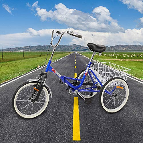PEXMOR Foldable Adult Tricycle, 20 in Single Speed Three-Wheels Trike Bike Cruiser with Large Basket for Man...