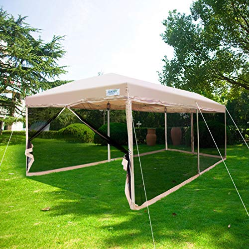 Quictent Ez Pop up Canopy Screened with Netting Instant Screen House Room Tent Mesh Side Walls (Tan, 10 x 20...