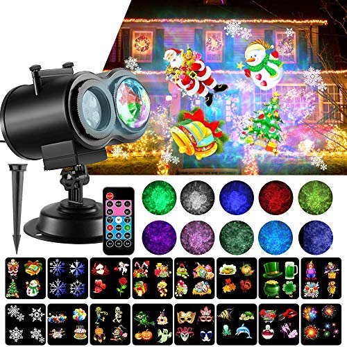 LED Christmas Projector Lights, 2-in-1 Ocean Wave Projector Light with 16 Slides Patterns 10 Colors Waterproof...