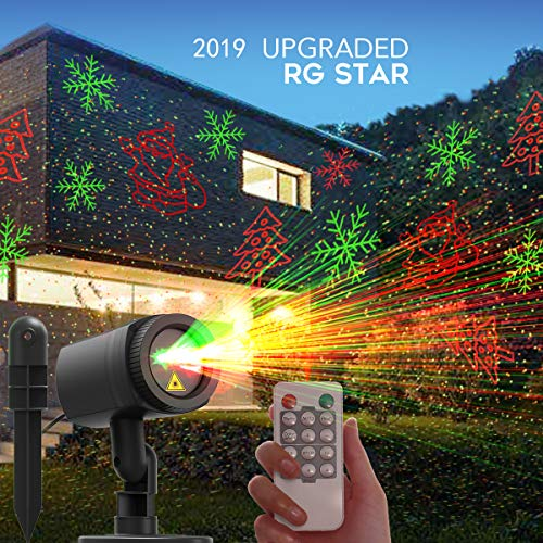 CACAGOO Christmas Projector Lights, 12 Patterns in 1 Laser Light Indoor Outdoor Christmas Laser Light with RF...