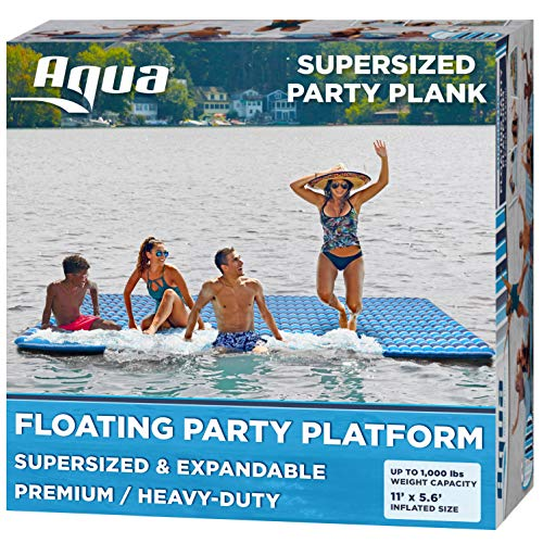 Aqua Large Floating Island with Expandable Zippers, Adult Size, 1000 Lbs. Capacity, Lake Raft, Water Mat,...